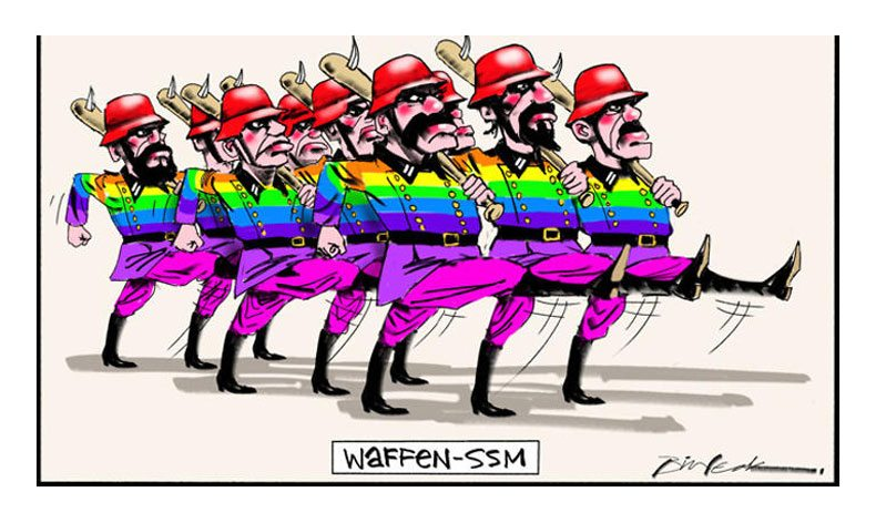 Nazi soldiers in rainbow uniform