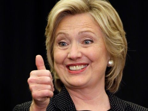 Hillary Clinton with her thumbs up