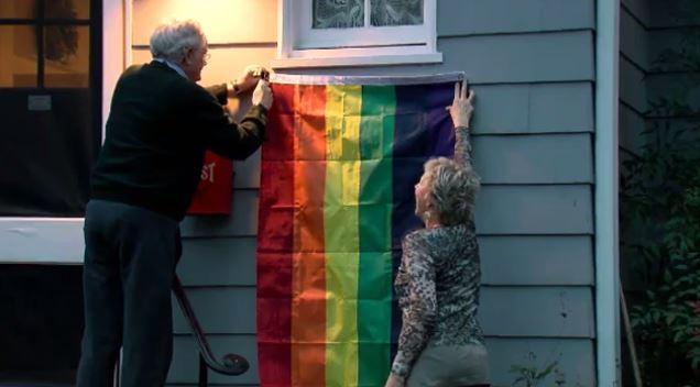Washington residents put up rainbow flags