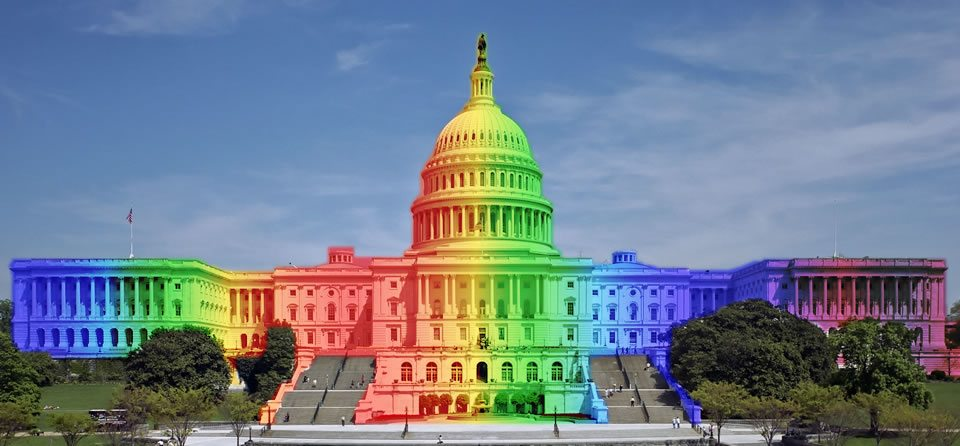 US Capitol lit up in rainbow