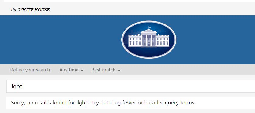 White House search bar with no results for LGBT