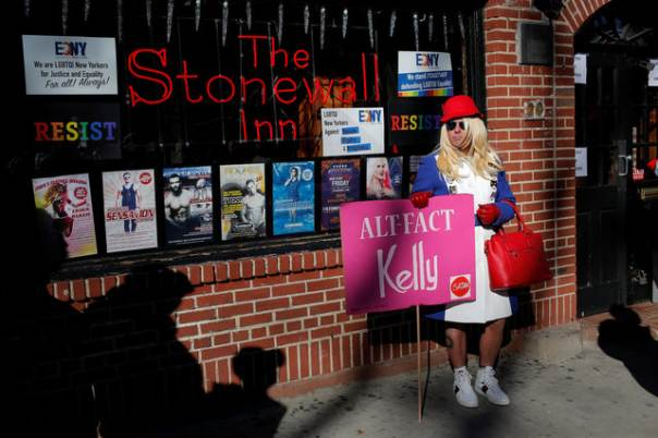 Drag Kellyanne Conway protests outside Stonewall Inn