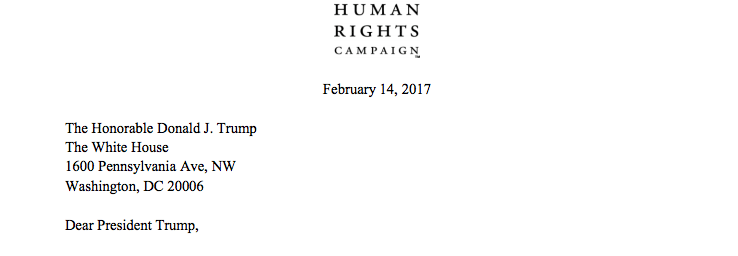 Human Rights Campaign letter to President Trump