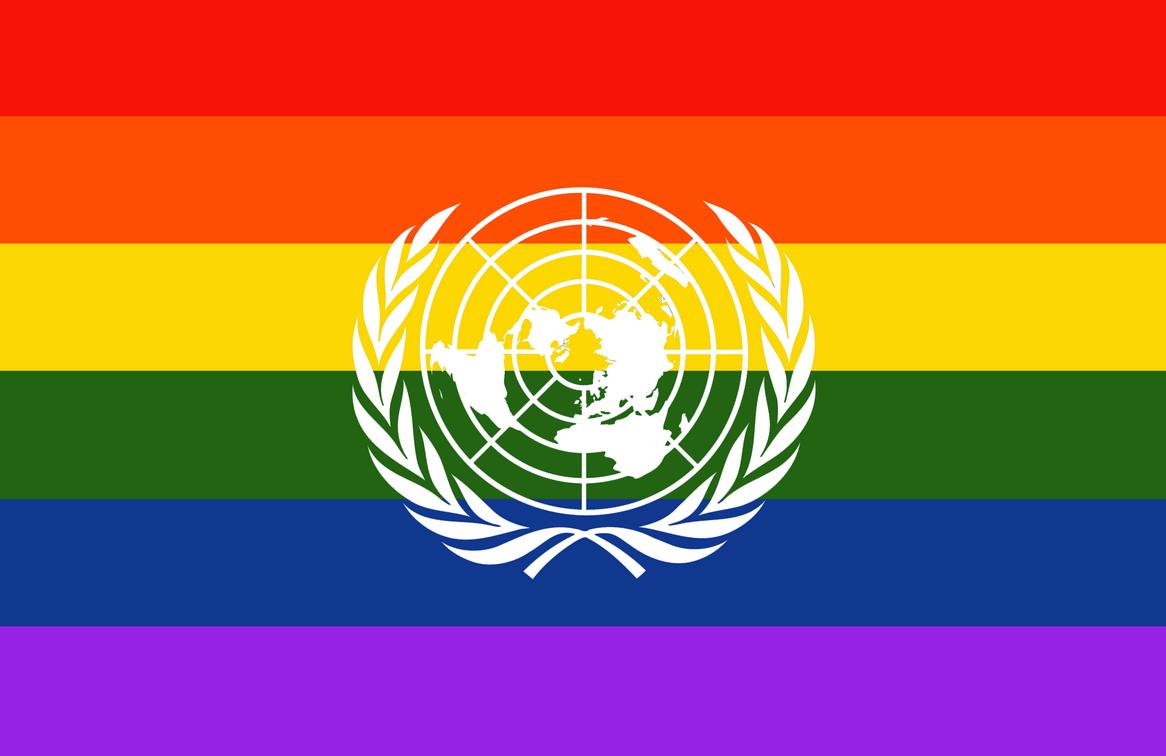 Rainbow United Nations flag